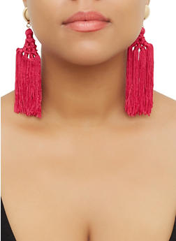 Woven Multi Tassel Drop Earrings - 3122071432590