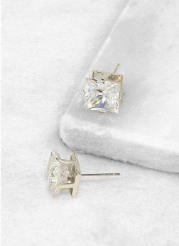 Square 10mm Cubic Zirconia Earrings - 3122071434511
