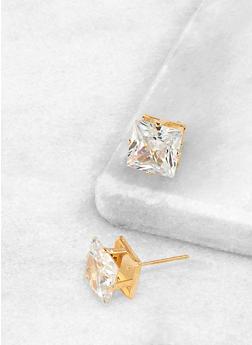 Square 10mm Cubic Zirconia Earrings - 3122071434511