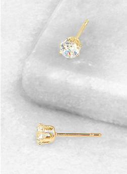 Round 4mm Cubic Zirconia Earrings - 3122071434513