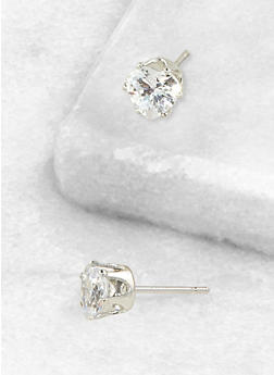 Heart 6mm Cubic Zirconia Earrings - 3122071434514
