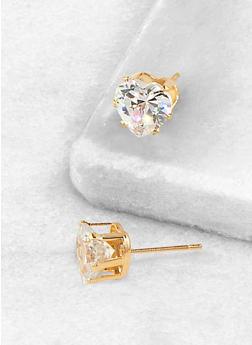 Heart 9mm Cubic Zirconia Stud Earrings - 3122071434519