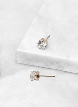Round 6 MM Cubic Zirconia Earrings - 3122071434566