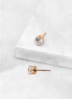 Round 6 MM Cubic Zirconia Earrings - 3122071434566