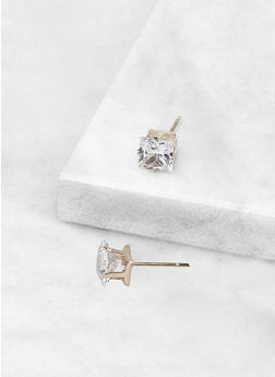 Square 6 MM Cubic Zirconia Earrings - 3122071434584