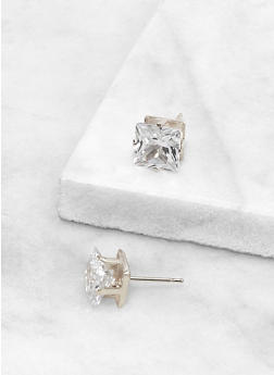 Square 8 MM Cubic Zirconia Earrings - 3122071434588