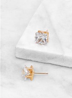 Square 8 MM Cubic Zirconia Earrings - 3122071434588