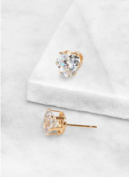 Heart 9 MM Cubic Zirconia Earrings - 3122071434599