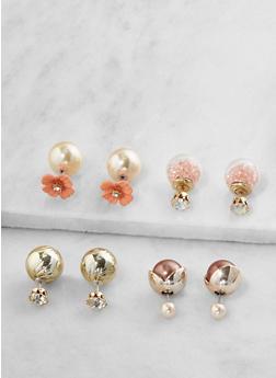 Set of 4 Reversible Stud Earrings - 3122071435102