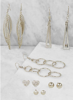Metallic Drop and Stud Earrings Set - 3122071435240