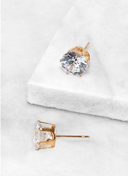 Round 10 MM Cubic Zirconia Earrings - 3122071435410