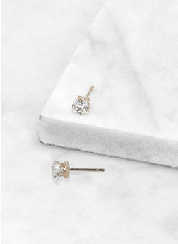 Round 4 MM Cubic Zirconia Earrings - 3122071435414