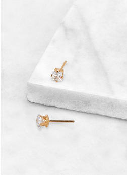 Round 4 MM Cubic Zirconia Earrings - 3122071435414