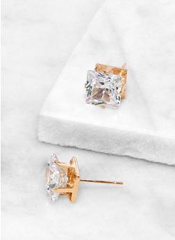 Square 10 MM Cubic Zirconia Earrings - 3122071435415