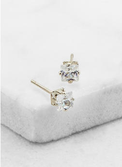 Mini Square Cubic Zirconia Stud Earrings - 3122071438102