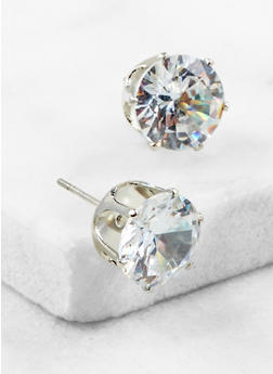 Round Cubic Zirconia Stud Earrings - 3122071438104