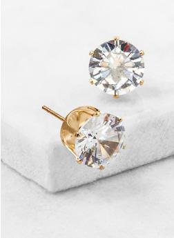 Round Cubic Zirconia Stud Earrings - 3122071438104