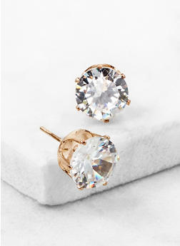 Round Cubic Zirconia Stud Earrings - 3122071438105