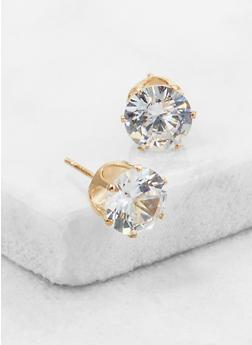 Round Cubic Zirconia Stud Earrings - 3122071438105