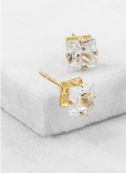 Small Square Cubic Zirconia Stud Earrings - 3122071438106