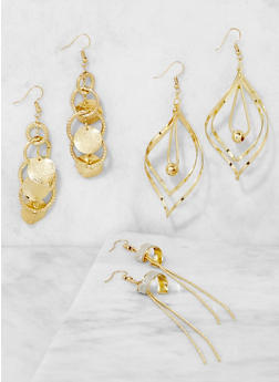 Set of 3 Metallic Drop Earrings - 3122071439102