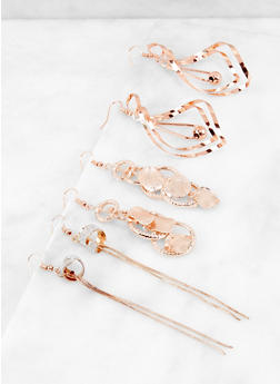 Trio of Metallic Drop Earrings - 3122071439120
