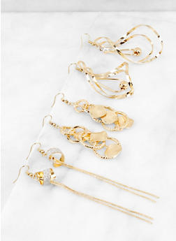 Trio of Metallic Drop Earrings - 3122071439120