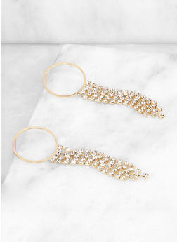 Rhinestone Fringe Hoop Drop Earrings - 3122072690099