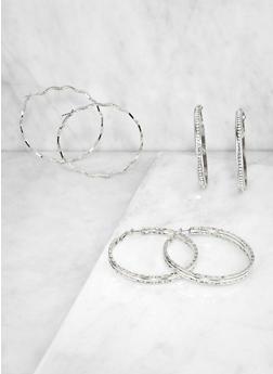 Textured Hoop Earring Trio - 3122072690101