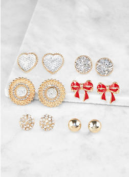Set of 6 Rhinestone and Bow Stud Earrings - 3122072690352