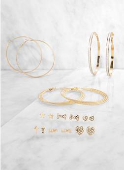 Rhinestone Bow Stud and Glitter Hoop Earrings Set - 3122072690732