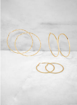 Textured Metallic Multi Size Hoop Earring Trio - 3122072690768