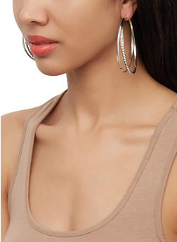 Double Hoop Earring Trio - 3122072690772