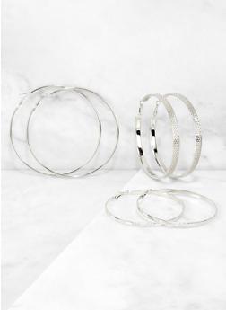 Metallic Textured Hoop Earring Trio - 3122072690879