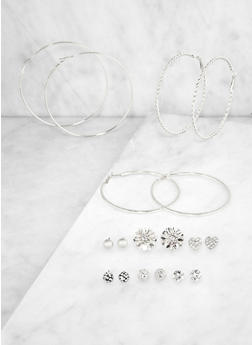 Flower Stud and Metallic Hoop Earrings Set - 3122072691480