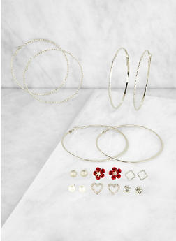 Set of 9 Assorted Hoop and Stud Earrings | 3122072691482 - 3122072691482