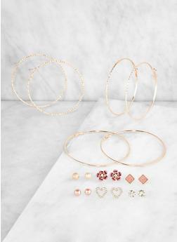 Set of 9 Assorted Hoop and Stud Earrings | 3122072691482 - 3122072691482