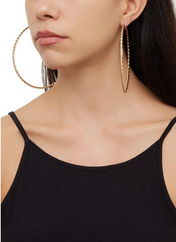 4 Oversized Hoop Earrings Set - 3122072691498