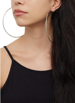 Oversized 4 Hoop Earrings Set - 3122072691502