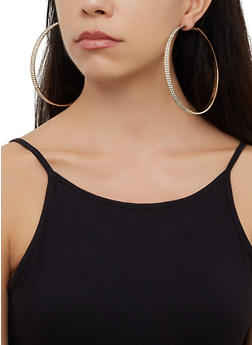 4 Oversized Hoop Earrings - 3122072691503