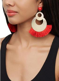 Textured Metallic Fringe Earrings - 3122072691842