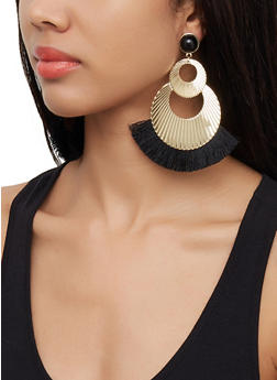 Textured Metallic Fringe Earrings - 3122072691842