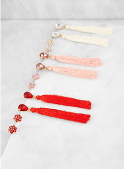 Set of 6 Rhinestone Stud and Tassel Drop Earrings - 3122072691846