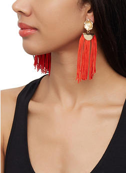 Flower Tassel Drop Earrings - 3122072691862