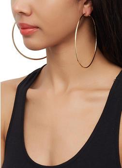 Skinny Oversized Metallic Hoop Earrings - 3122072692405