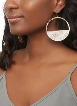Cut Out Rhinestone Disc Earrings - 3122072692647