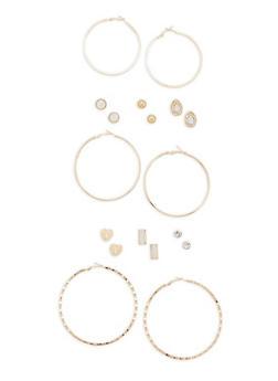 Assorted Hoop and Glitter Stud Earrings Set - 3122072693365