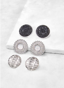 Textured Metallic Disc Earrings - 3122072694071