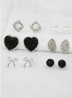 Assorted Faux Pearl Heart Stud Earrings Set - 3122072694184