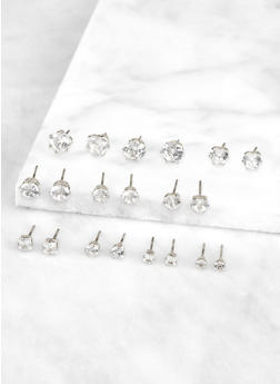 Set of 10 Assorted Size Cubic Zirconia Stud Earrings - 3122072694410